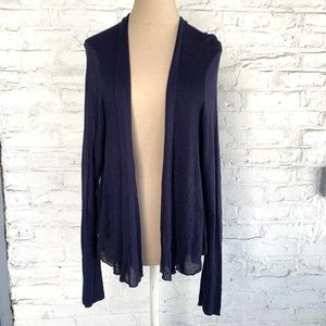 Cardigan sweater navy blue draped sheer back rayon